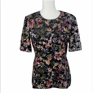 Badgley mischka velvet floral sequin top